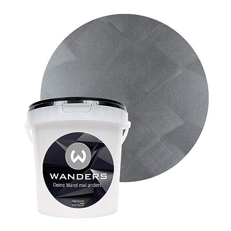 Wanders24 Edel-Metallic (1 Liter, kostbares Grau) Wand-Farbe zum ...