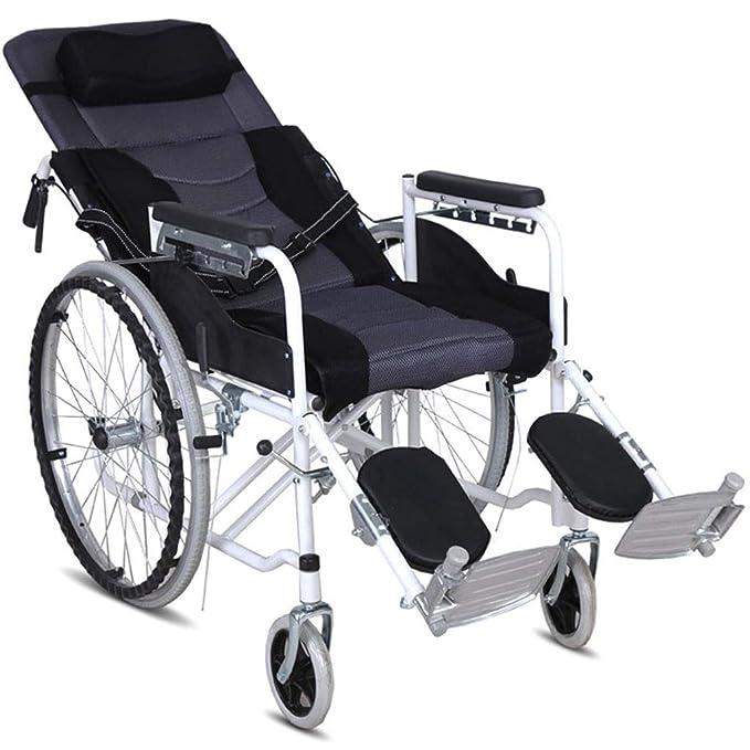 Amazon.com: Silla de ruedas plegable con cinturón semi ...