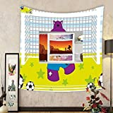 Gzhihine Custom tapestry Sports Decor Tapestry Cute Hippopotamus Soccer Goal Keeper Football Cartoon Print for Bedroom Living Room Dorm Apple Green Baby Blue Purple