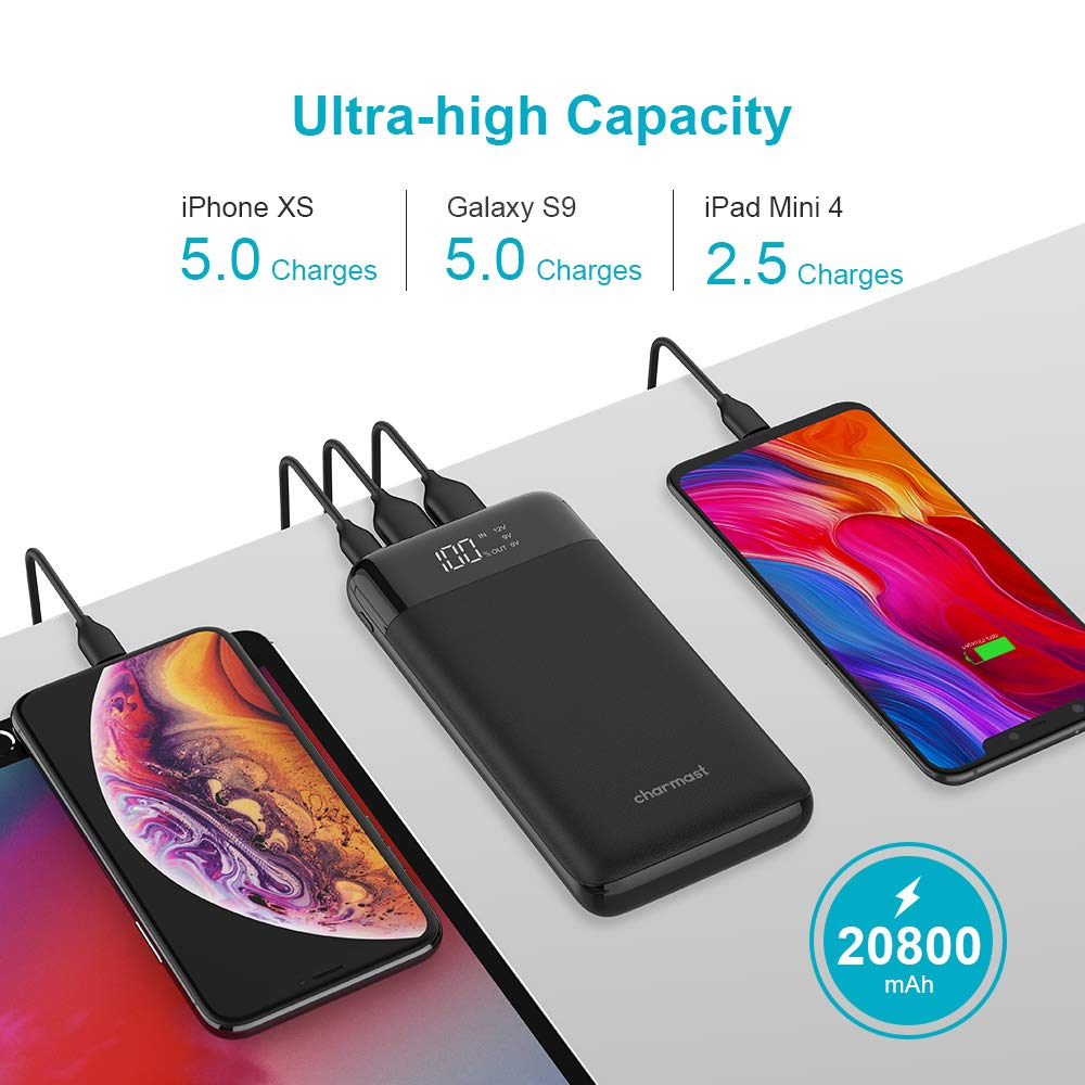 Charmast Power Bank 20800mAh High Capacity with LED Power Display Support PD/QC 3.0 Quick Charge Battery Pack, Portable Phone Charger Compatible with iPhone Samsung Google Pixel and More