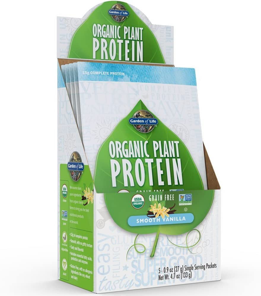 Garden of Life Organic Plant Protein Smooth Vanilla Powder - Single Serving Packets (5-Pack) - Vegan, Grain Free & Gluten Free Plant Based Protein Shake with 1B CFU Probiotics & Enzymes, 15g Protein