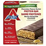 Atkins Protein Bars, Chocolate Peanut Butter, 16g Protein, 2g Sugar, 12g Fiber, 5 Count