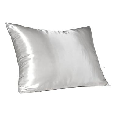 Shop Bedding Luxury Satin Pillowcase Hair – Standard Satin Pillowcase Zipper, White (Pillowcase Set of 2) – Blissford