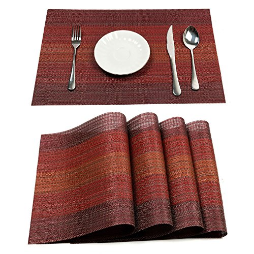 Under Construction Placemat - PAUWER Placemats Set of 6 Heat Insulation Stain Resistant Placemat for Dining Table Durable Crossweave Woven Vinyl Kitchen Table Mats Placemat (Red)