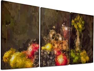 NOAON Fashion Canvas Prints Still Life Fruit Pears Apples Grapes Glass of Wine Wall Art Wood Framed Ready to Hang 12x24 Inchx3 Pcs for Home Decor