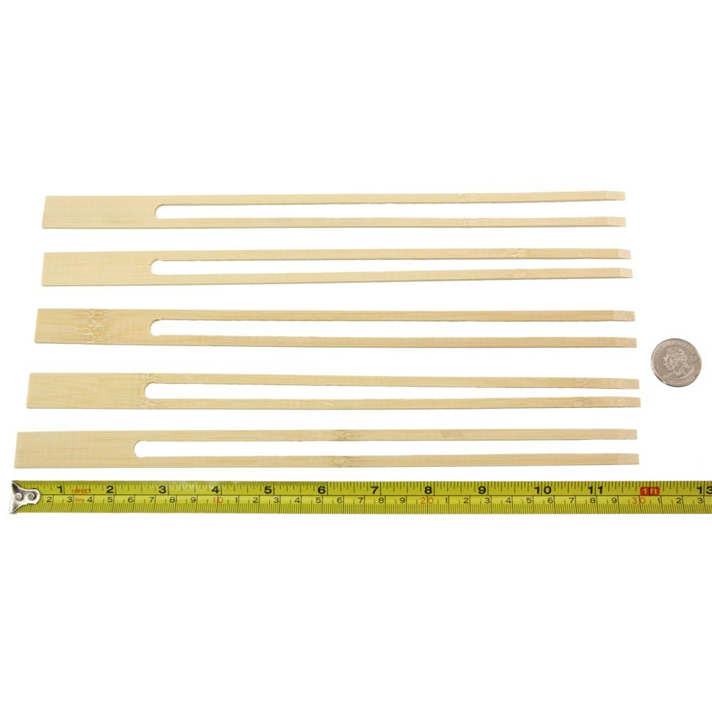 BambooMN 18mm Wide Bamboo Double Prong Fondue Sticks Barbecue Grilling Kabob Skewers, 11.8'' Long, 100 Pieces