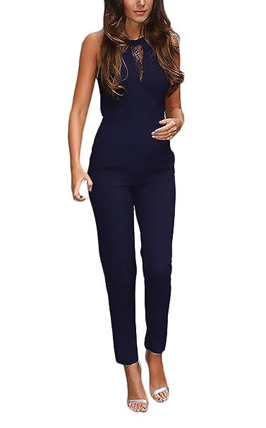 c2e2998c22c2 Tuta Donna Elegante Lunga Estate in Pizzo Senza Maniche Slim Fit Vintage  Moda Giovane Un Pezzo Tutine Tute Intera Jumpsuit  Amazon.it  Abbigliamento