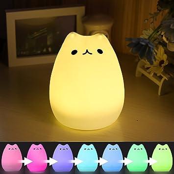 LED Nachtlicht - Nachtlicht Kinder Baby Nachtleuchte USB Nachladbares LED  Multicolor Nachtlampe für Kinder Schlafzimmer Home Decorate (Naughty Cat)