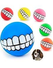 Saulayct g4352 3 Stück Lustige Hunde Quietschspielzeug Ball Gebiss-Muster Kauen Hundeball, Klein Große Hund Zufällige Farbe