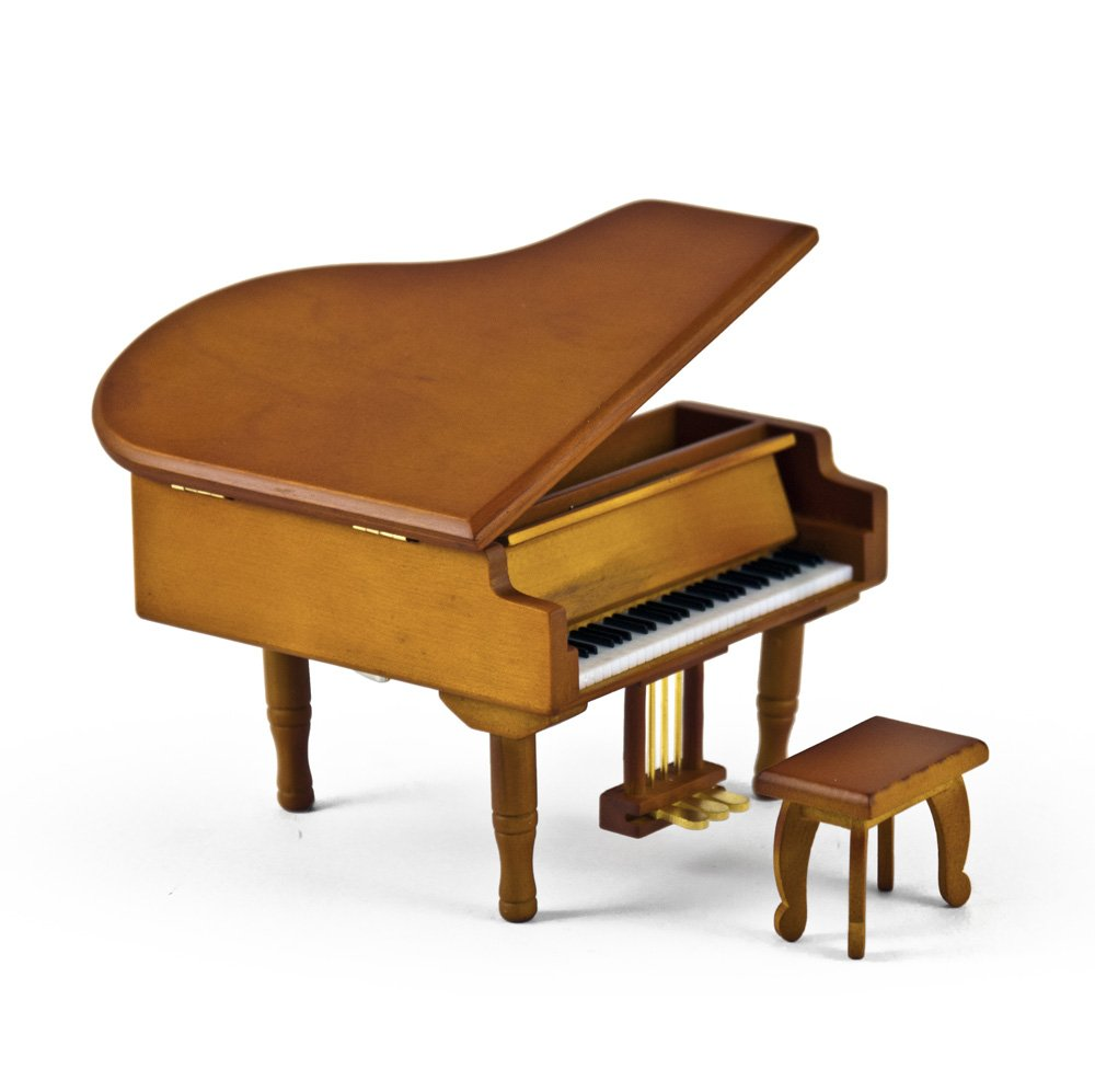 MusicBoxAttic Incredible Wood Tone Miniature Replica Of A Baby Grand Piano With Bench - Over 400 Song Choices - Talk to the Animals