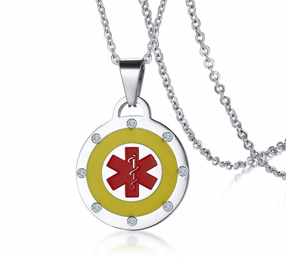 Free Engraving Stainless Steel Round Yellow and Red Medical Alert ID Pendant Necklace for Women, 19'' Chain