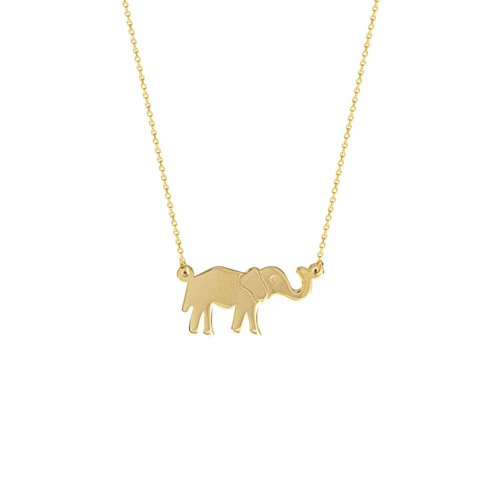 GOLD NECKLACE, 14KT GOLD E2W ADJUSTABLE . ELEPHANT NECKLACE