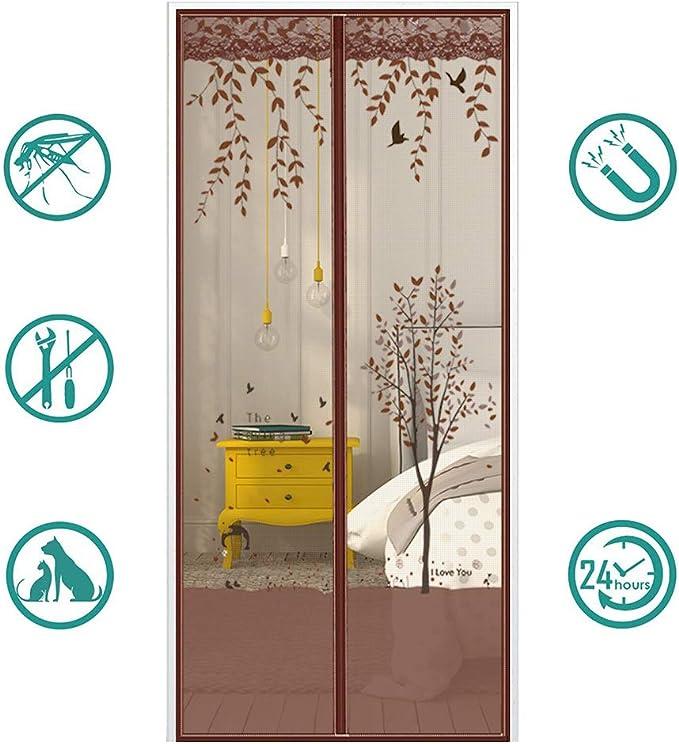 MeetBeauty Mosquitera Puerta Magnetica Corredera Cortina Mosquitera Magnética para Puertas Cortina de Salón de Estar la Puerta del Balcón Puertas, Marrón 5, 100 x 200 cm: Amazon.es: Hogar