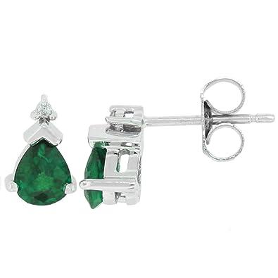 klassische Stile billiger Verkauf New York Mytreasurez Echter Smaragd ohrringe mit Diamanten, 0,69 ct, in 14 kt  Weißgold