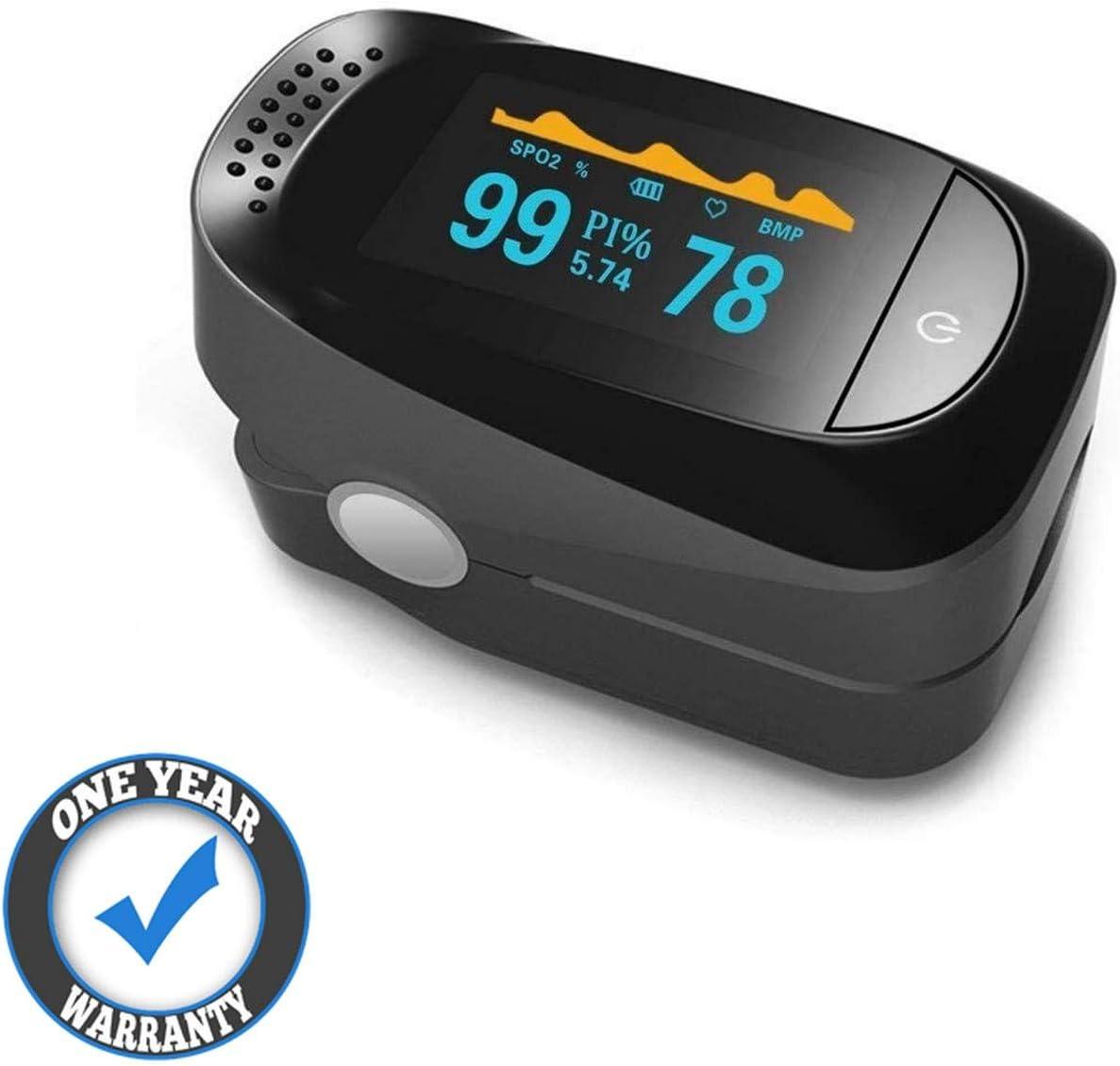 Qootec Oxímetro de Pulso,Pulsioxímetro con Pantalla OLED, Oxímetro con función de Alarma, Saturación de Oxígeno en la Sangre (Sp02) EU022 …