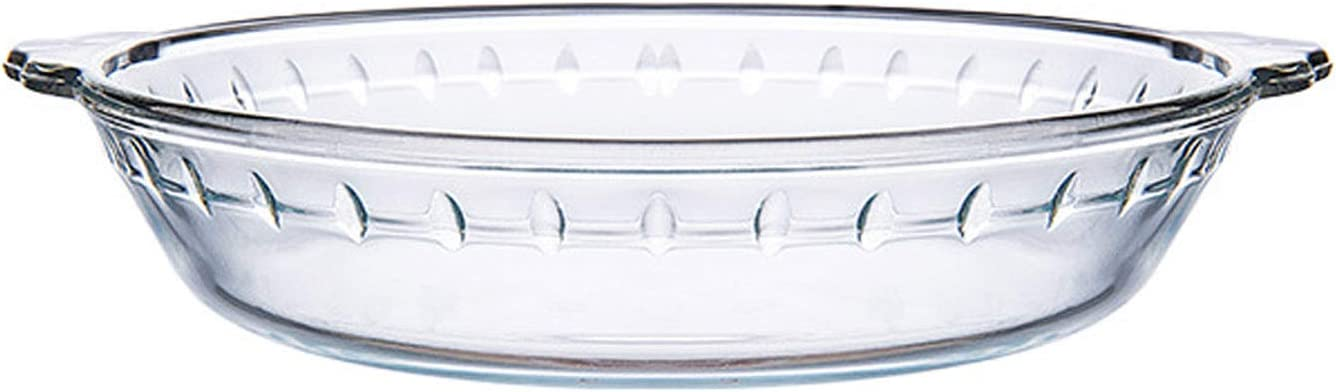 DMAR Glass Pie Plate Deep Pie Baking Dish for Shepards Pie, Apple Pie and Quiche Round Pie Pan with Handles for Baking and Serving Oven Basics, Clear, 7.5 inch