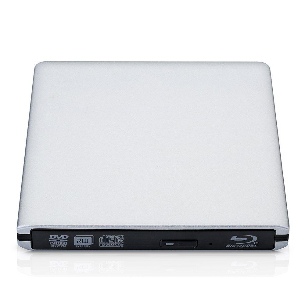 Reproductor externo de Blu-ray USB 3.0 BD-RW CD-RW DVD-RW para Windows 98/SE/ME/2000/XP/Vista/Win 7/Win 8/Win 10/Mac OS Laptop Notebook PC (Plata): ...