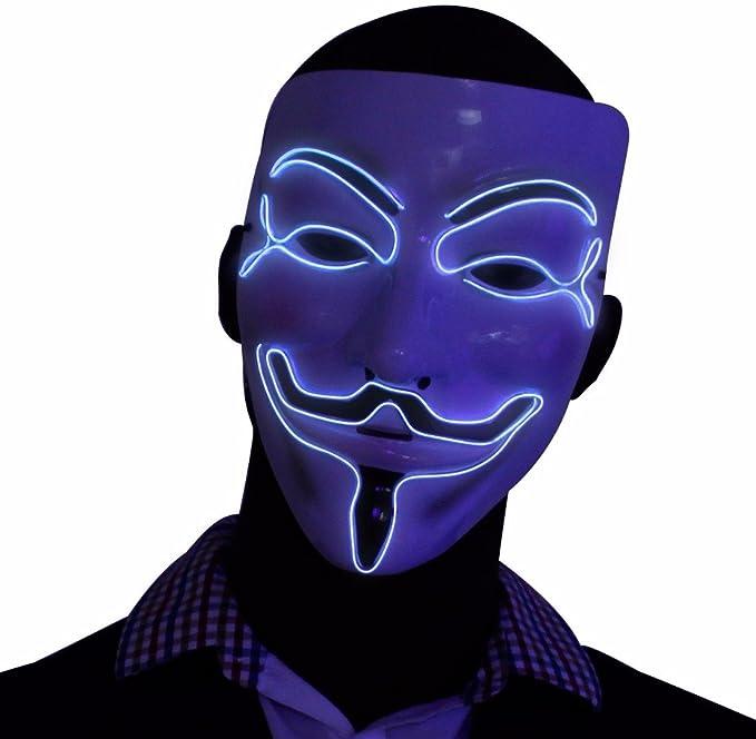 Mascara Plateada V por Vendetta que Brilla en la Oscuridad, Guy Fawkes de Anonimus,
