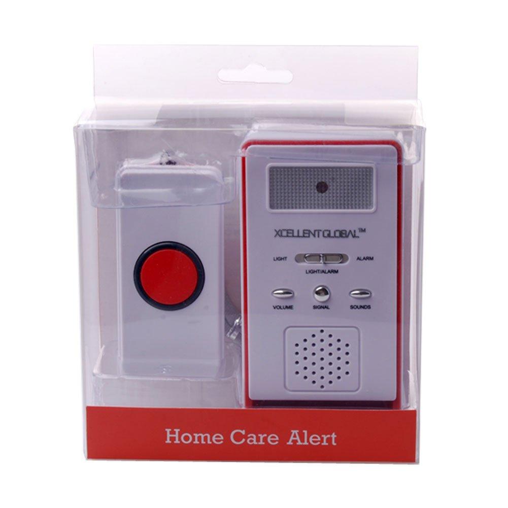 Xcellent Global kabelloser Hausalarm/Mehrzweck Alarm (Wieß und Rot) mit Empfänger, Sender und Bedienungsanleitung M-HG028