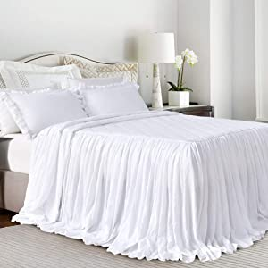Queen's House Ruffle Skirt Bedspread White Shabby Farmhouse Style Lightweight 3 Piece Set King