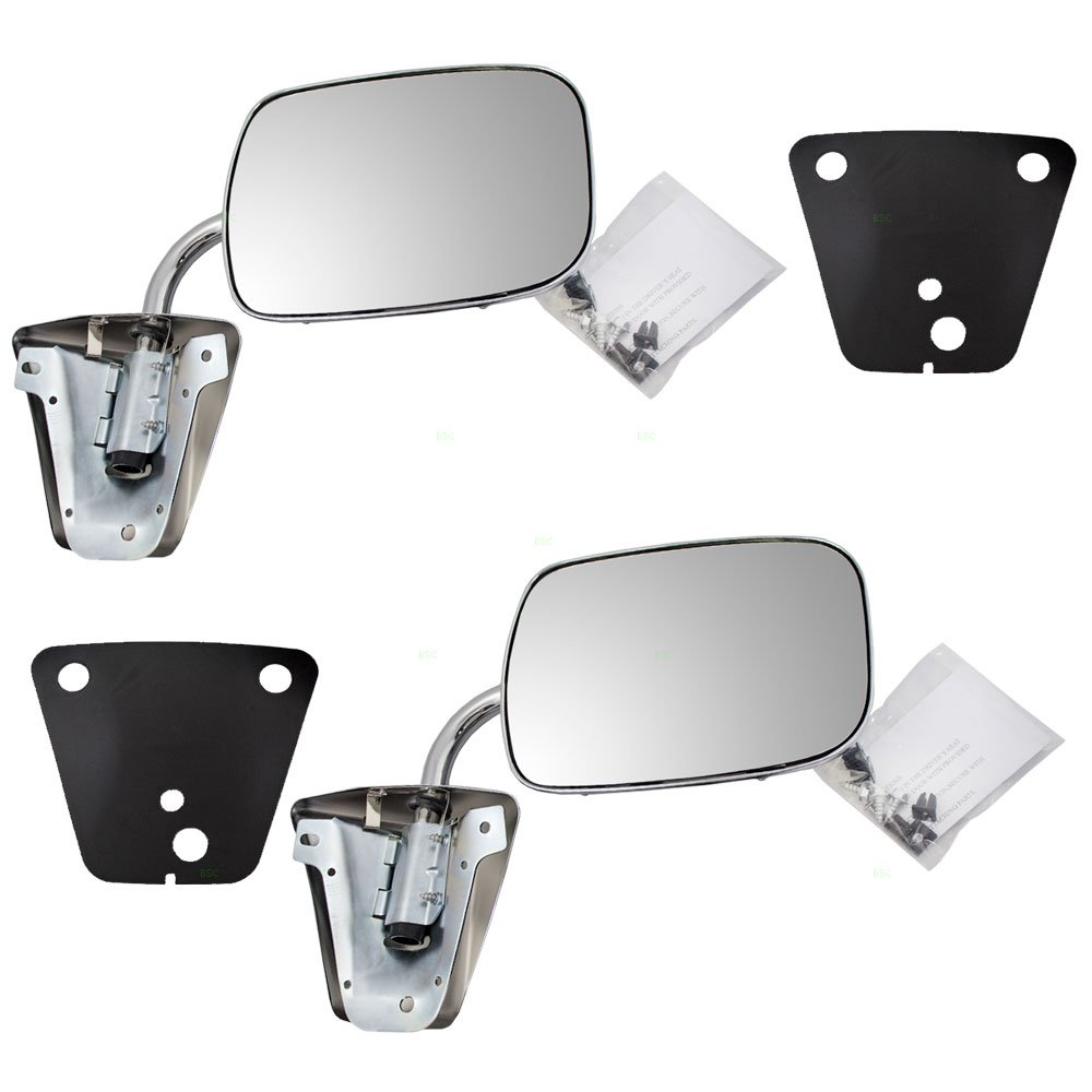 Pair of Manual Side View Stainless Steel Mirrors Replacement for GMC Chevrolet Pickup Truck SUV Van 996220 Aftermarket