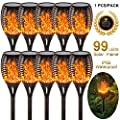 EOYIZW Solar Flame Light Outdoor Dancing Flickering Torch Lights Waterproof 96 LED Lantern Solar Spotlights Dusk to Dawn Lighting Lamp Garden Pathways Yard Patio Path 2 Pack