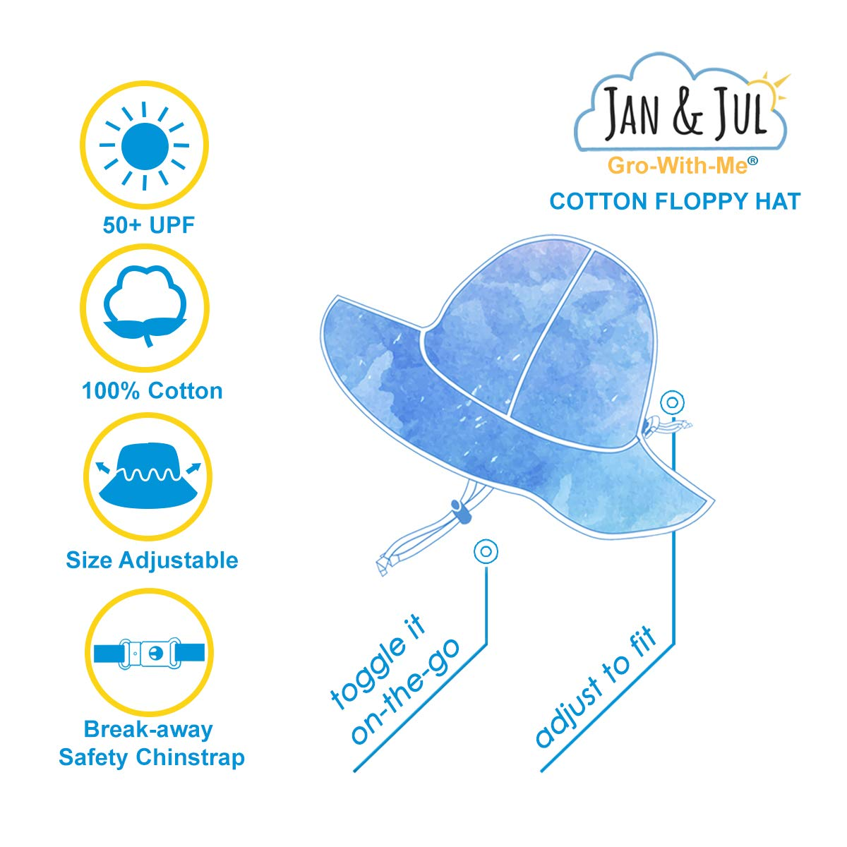M: 6-24m, Blue Stripes Stay-on Tie Drawstring Adjustable Jan /& Jul Toddler Boys Cotton Sun Hats 50 UPF