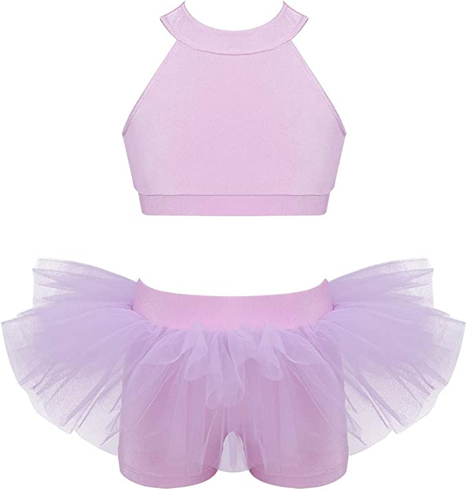 moily Girls Two Piece Athletic Outfit Metalic Splice Crop Top with Leggings for Gymnastics//Dance//Sports