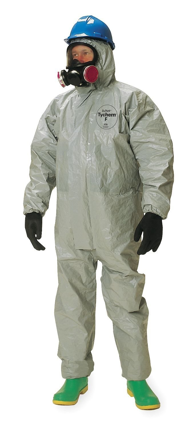 Dupont Tychem F SafeSPEC Coverall with Respirator Fit Hood, Elastic Wrists and Ankles, Taped Seam, Storm Flap, Grey [Price is per Each] (X-Large) by Tychem (Image #1)