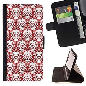 - WALLPAPER DEATH SKULLS DRAWING WHITE RED - - Prima caja de la PU billetera de cuero con ranuras para tarjetas, efectivo desmontable correa para l Funny HouseFOR Samsung Galaxy S6