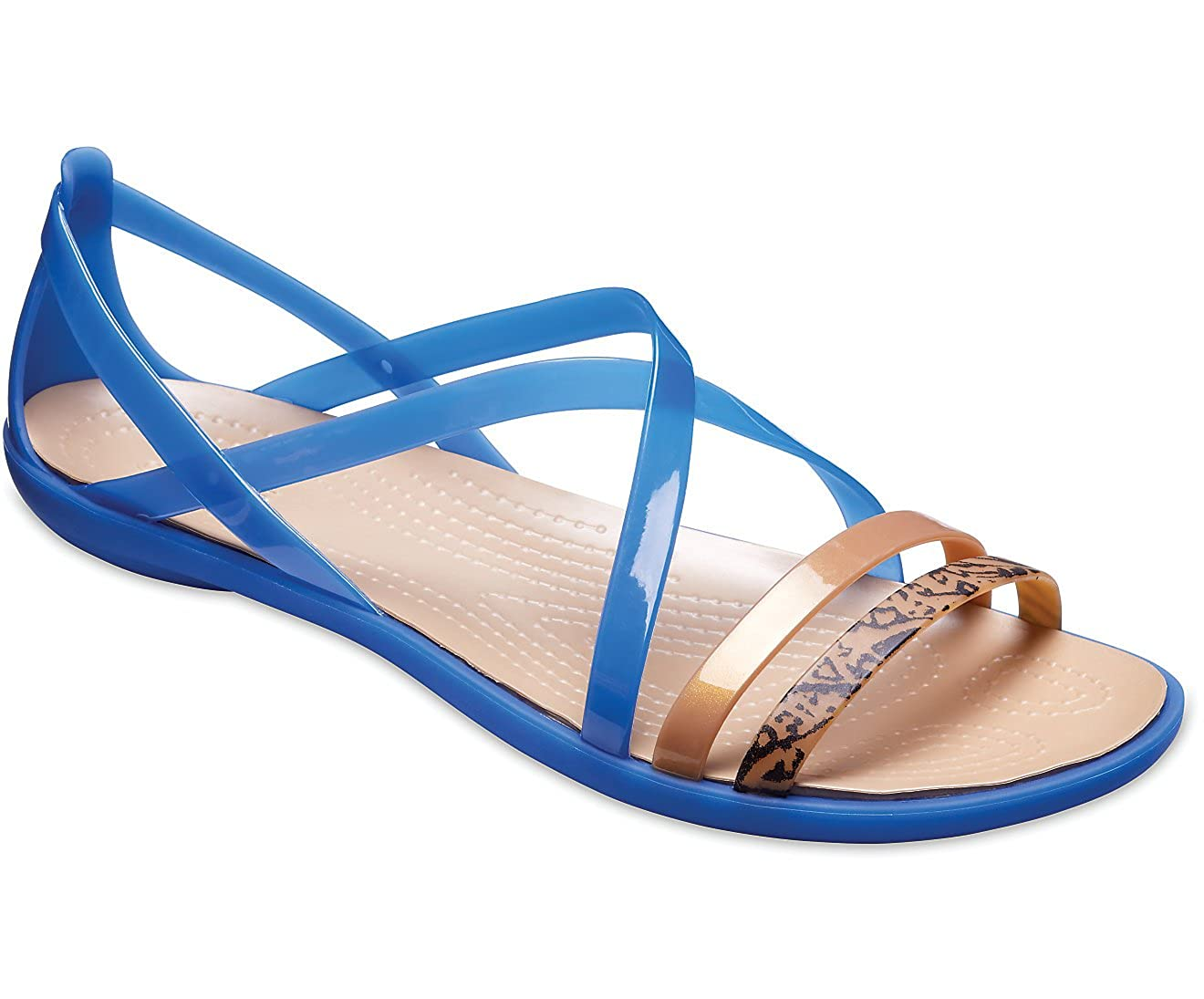 Crocs Isabella GRPH Strappy Sandal Blue Jean//Gold Standard 4M
