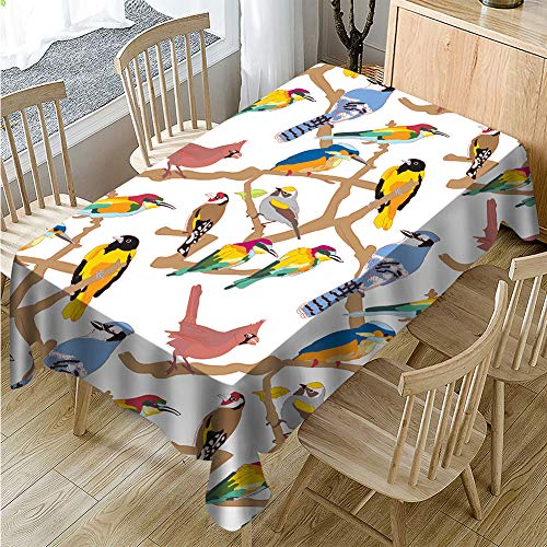 Vintage Bird Floral Print Tablecloth Table Cover Machine Wasable, Waterproof Spillproof Fabric Table Cover for Kitchen Dinning Tabletop Decoration, Restaurant (Rectangle/Oblong - 54 x 54 ()