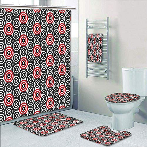 Bathroom Fashion 5 Piece Set shower curtain 3d print,Geometric Circle Decor,Interlace Spiral Labyrinth Blind Oval Linked Mosaic Artistic Image,Red Black,Bath Mat,Bathroom Carpet Rug,Non-Slip,Bath Towl