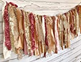 Blush Rose and Gold Shabby Chic Rag Tie Garland: ~ Photo Shoot ~ Wedding ~ Birthday ~ Nursery ~ Bridal Shower ~ Highchair Banner ~ Gender Reveal Parties ~ Decorations ~ Wall Decor! 10 FEET)