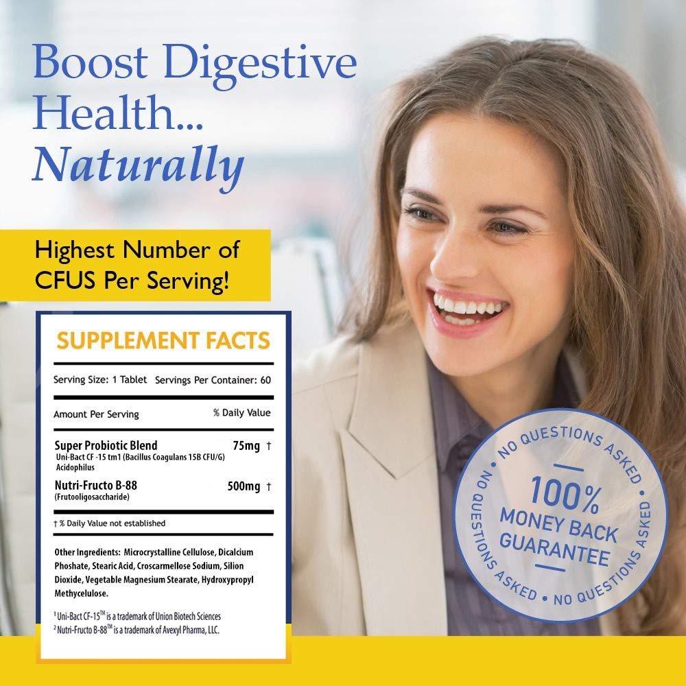 Nutrition Essentials #1 Rated Acidophilus Probiotic Digestive Health Supplement - Most CFU's per Bottle - (6 Pack of 60 Tablets) 100% Moneyback Guarantee (360 Tablets) by Nutrition Essentials (Image #2)