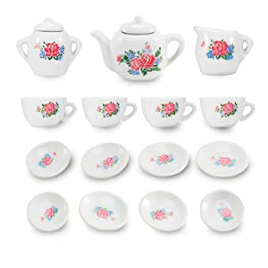 Liberty Imports 17 Piece Rose Flower Porcelain Ceramic Tea Set | Pretend Play Kids Toy Mini Kitchen Playset
