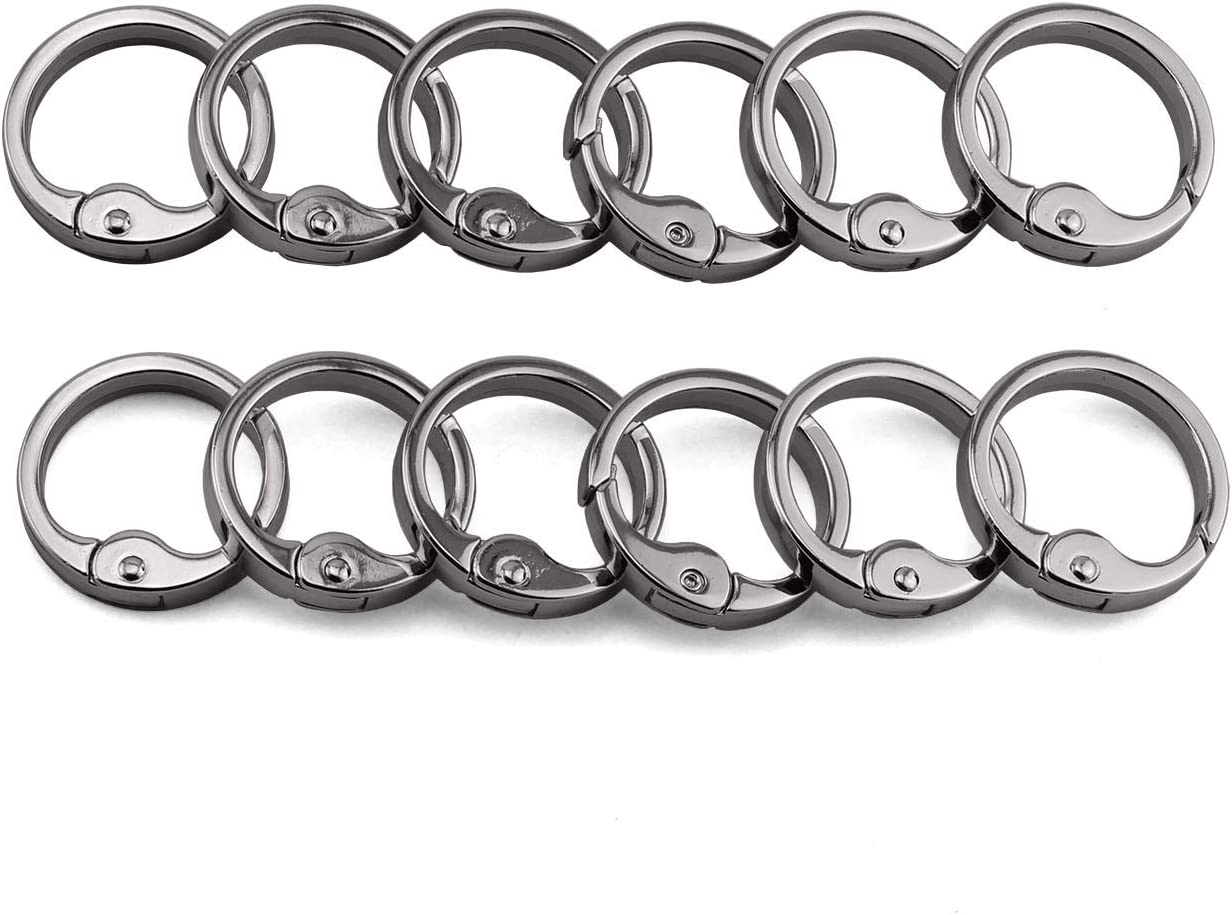 Spring Round Hook Carabiner Circle 28mm Snap Clips Buckle Keyring Keychain