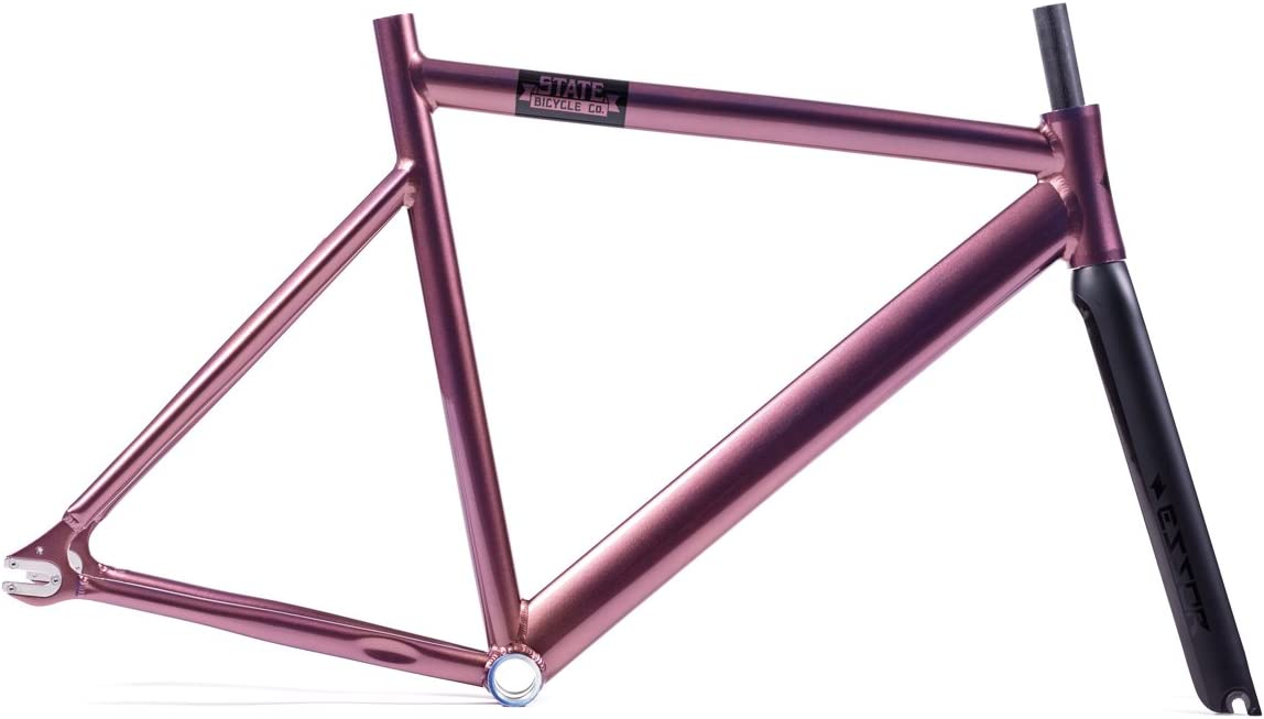 State Bicycle Co. Black Label 6061 Aluminum Frame and Essor Carbon Fork Set, Nightshade Purple, 62cm