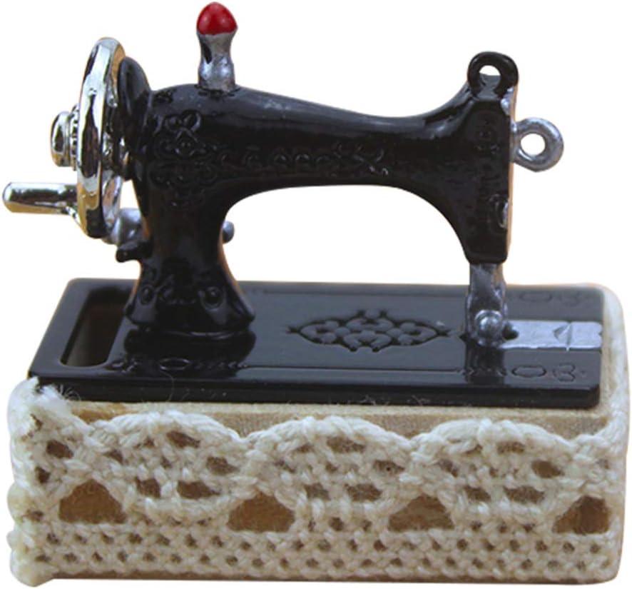 EXCEART Máquina de Coser Vintage Retro Casa de Muñecas Mini Juego de Costura en Miniatura para Accesorios de Decoración de Casa de Muñecas con Hilo (Negro): Amazon.es: Hogar