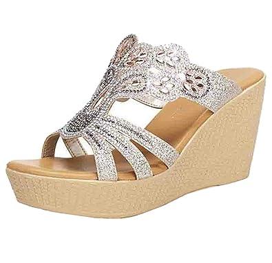 Damen Sandaletten in Gr. 40  NEU mit Keilabsatz  Farbe - Beige Champagne