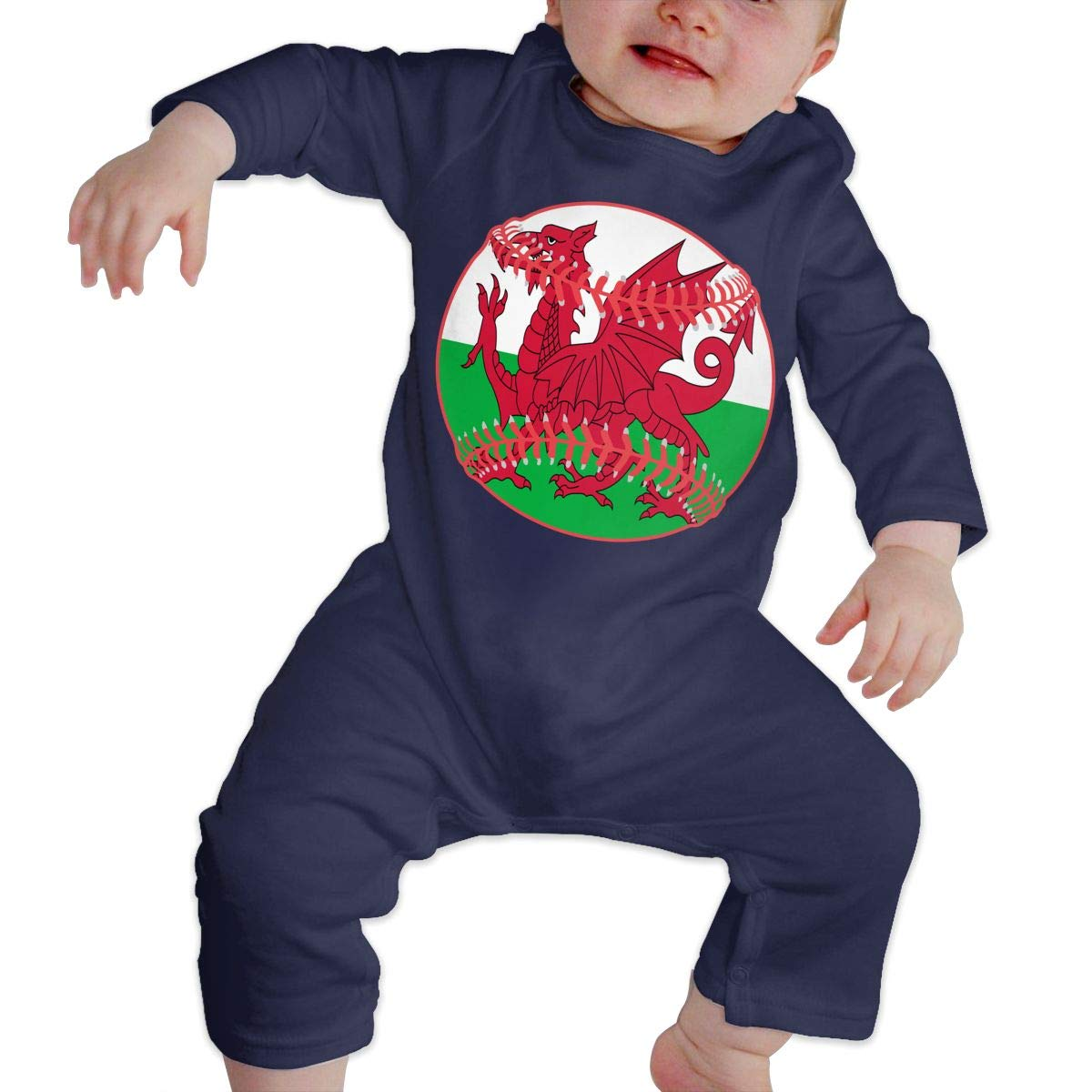 Mri-le1 Baby Girl Coverall Wales Flag Baseball Clipart Baby Rompers