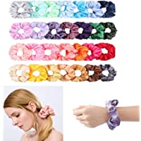 28Pcs Silk Satin Hair Scrunchies Set for Women Strong Elastic Hair Bobbles for Ponytail Holder, Colorful Hair Accessories Ropes Scrunchie, Solid Color Traceless Hair Ties