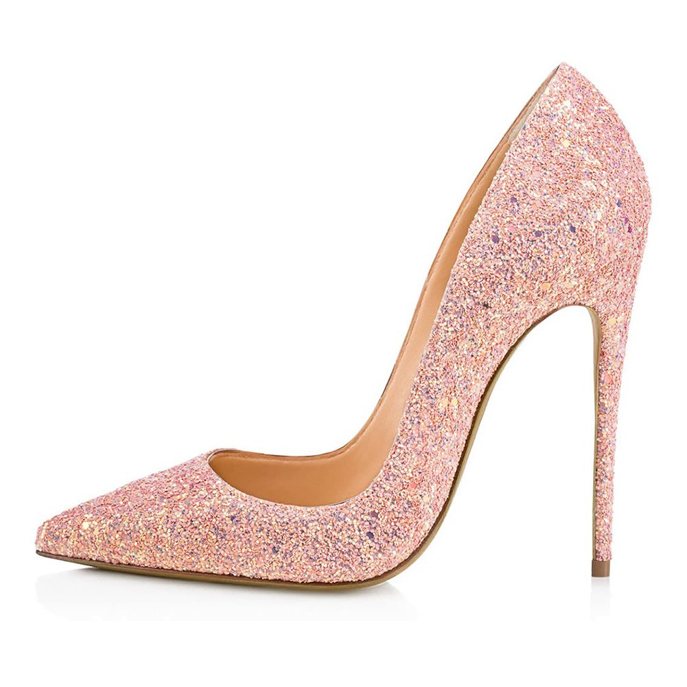KJJDE Damen Knouml;chelriemchen Sandalen High Heels TLJ-53 Grit Spitze Zehe Heel 8CM Pumps Party  40|Pink