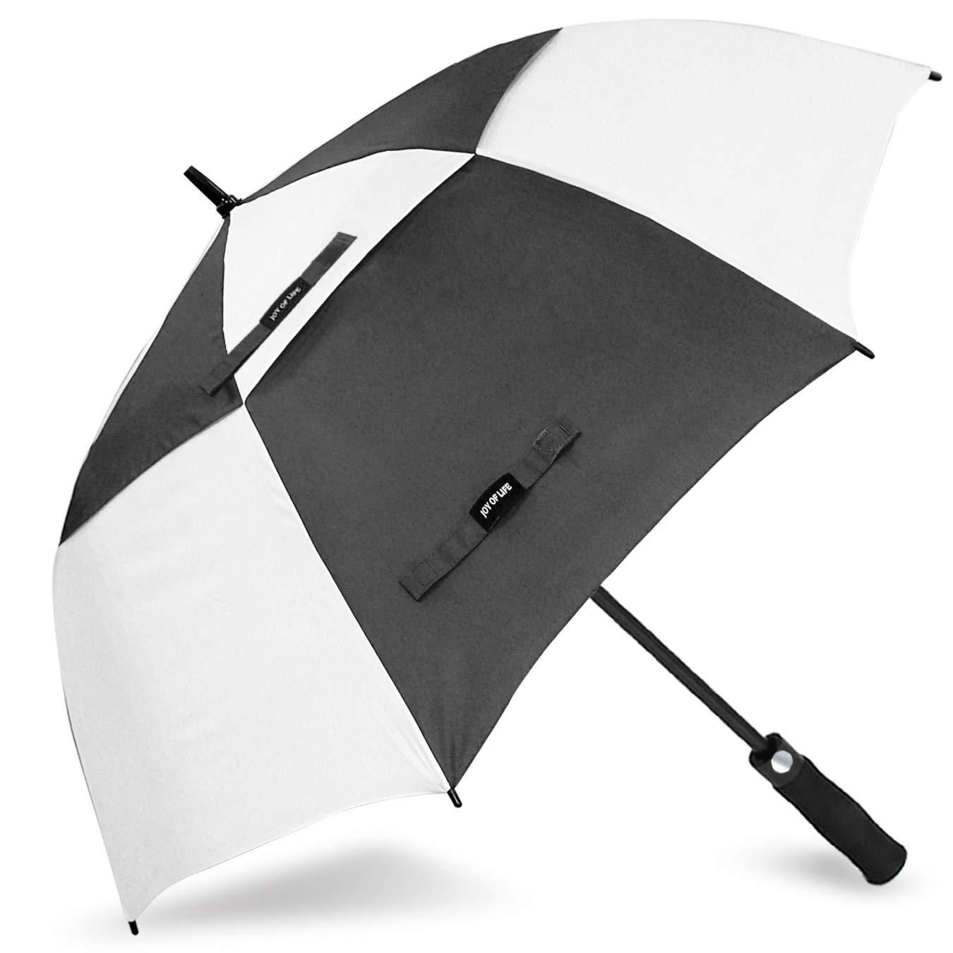 ZOMAKE Golf Umbrella Windproof Large 62 inch Double Canopy Automatic Open Umbrella for Men - Vented Sun Umbrella - Stick Umbrellas