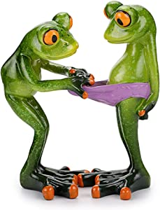 JuxYes Creative Craft Resin Frog Figurine Decor, Novelty Funny Frog Sculpture Statue, Personalized Animal Collectible Figurines Mascot Frog for Shelves Table Desk Decor Collectible Figurines