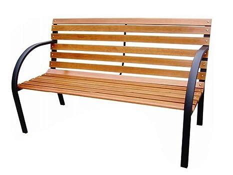 Pleasant 3 Seater Wooden Slatted Garden Patio Bench Seat Metal Legs Outdoor Park Seat Comfortable Solid Lightweight Furniture Sun Sunshine Summer Picnic Relax Machost Co Dining Chair Design Ideas Machostcouk