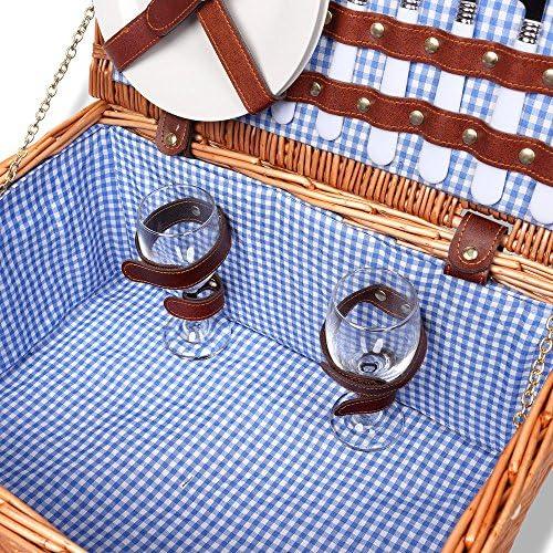 Schramm® Cestino da picnic 40x30x20cm rettangolare in legno di salice per 2 persone