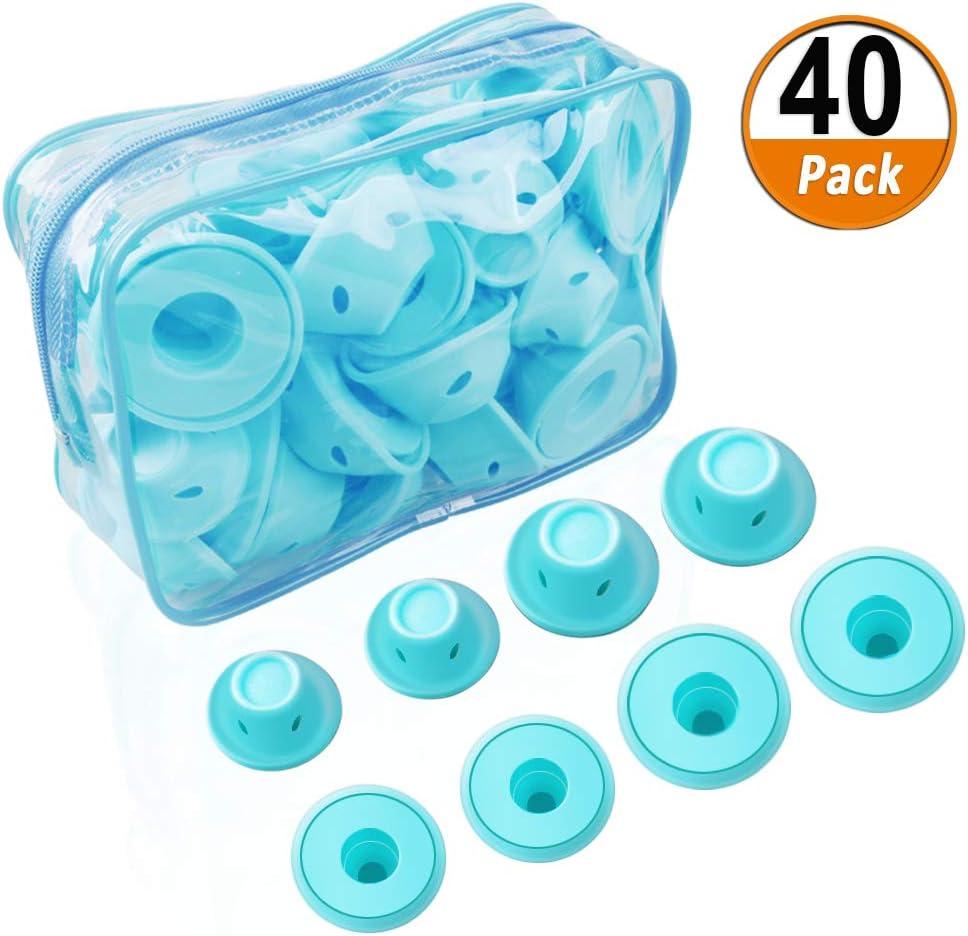 40 Unids Pelo Silicona Rodillo de Azul, Rizadores para el cabello Rulos para el Pelo suave Silicona Sin calor Sin clip Cuidado Herramientas bricolaje para el cabello largo (20 grandes y 20 pequeños)