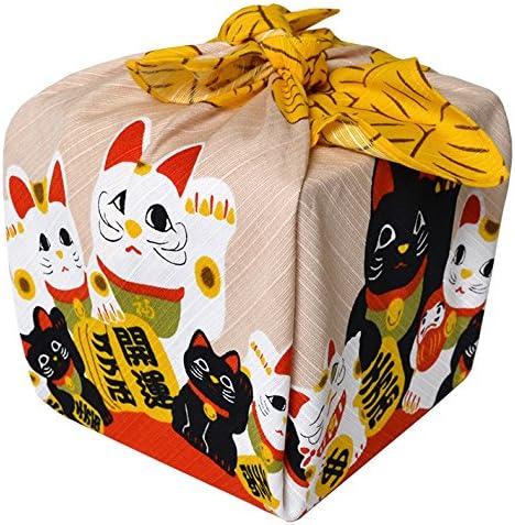 Kleine Furoshiki Japanische Geschenkpapier Tuch Shantung Chief Manekineko Gold Blume 50/x 50/cm aus Japan