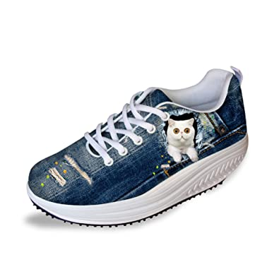 7d42c15639d1 FOR U DESIGNS White Cat Printed Fashion Girls Platform Sneakers Fitness  Shoes US 5
